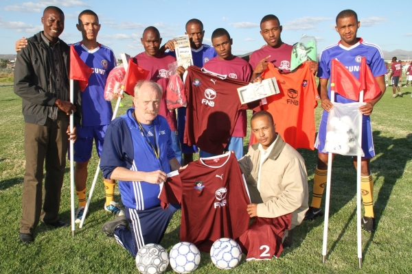 Back row, from left: Sama Kashindi, Brian Brendell, VolkerMuariani, Tuweefem Mlukeni and Franklin April. Front row: Helmut Scharnowski and Bradley Izaks. Photo: www.namibiasport.com.na